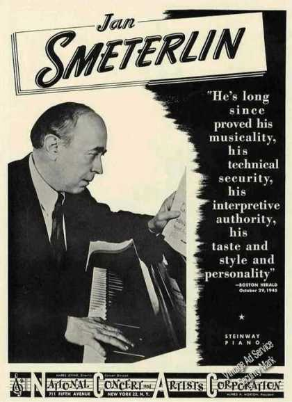 Jan Smeterlin Photo Piano Booking Ad Music (1946)