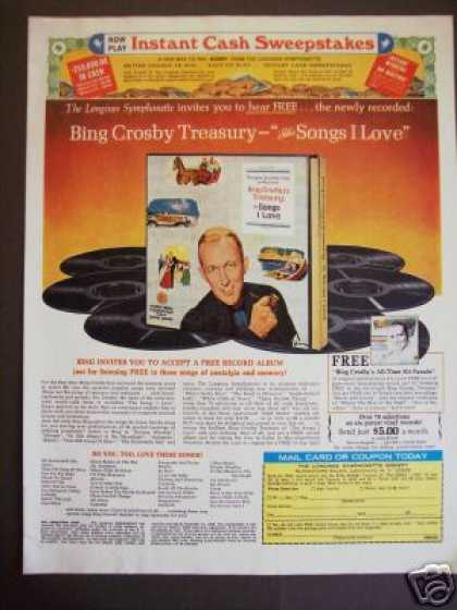 Bing Crosby Songs I Love Record Album Offer (1968)