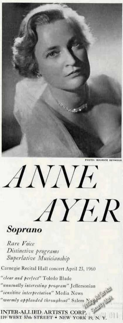 Anne Ayer Photo Soprano Recitals/concer (1960)