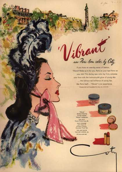 "Coty's Vibrant color Make-Up – ""Vibrant"" (1946)"