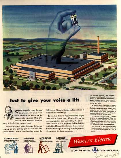 Western Electric's Corporate Ad – Just to give your voice a lift (1948)
