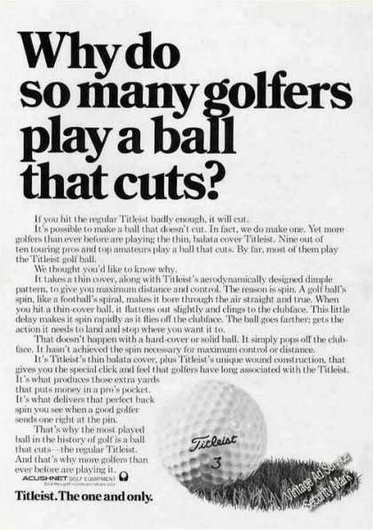 "Titleist ""Play a Ball That Cuts?"" (1974)"