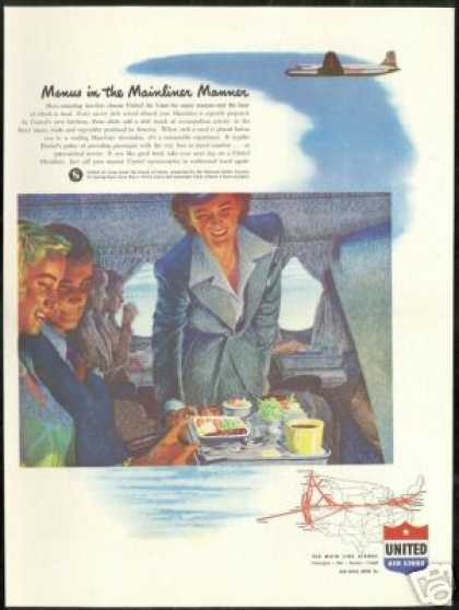 United Airlines Stewardess Food System Map (1947)