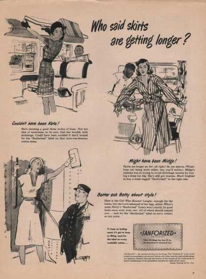 Sanforized Fabric Shrinkage (1946)