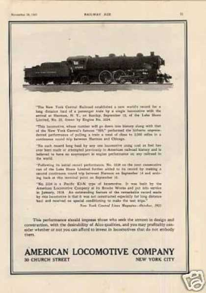 Alco Ad New York Central 4-6-2 Pacific #3334 (1925)
