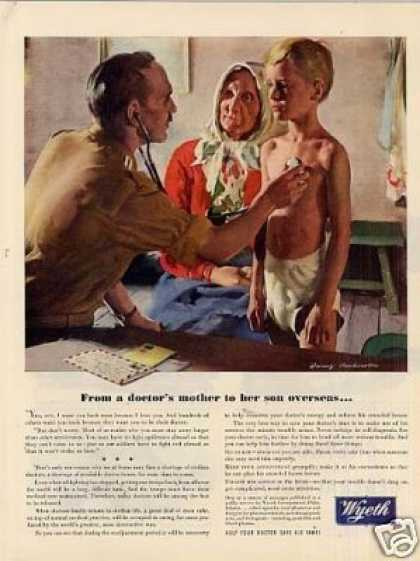 "Wyeth Ad ""From a Doctor's Mother... (1944)"
