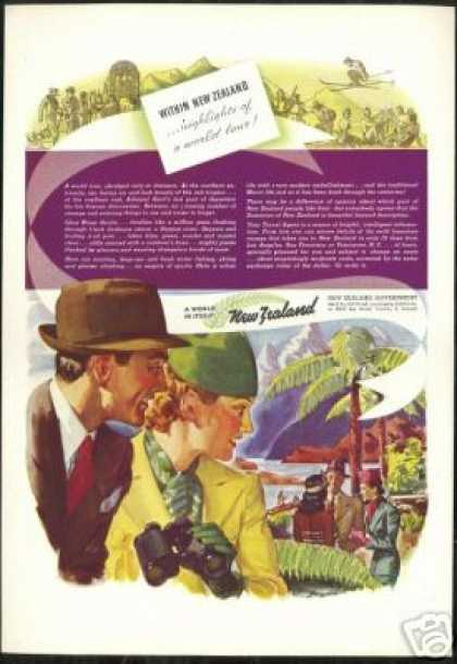 New Zealand Vintage Travel Art (1938)