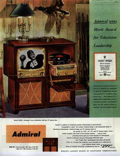 Admiral Corporation's Television Combination – Admiral Wins Merit Award for Television Leadership. (1952)