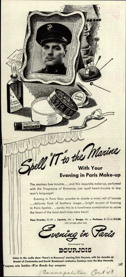 "Bourjoi's Evening in Paris Cosmetics – Spell ""IT"" to the Marine (1943)"