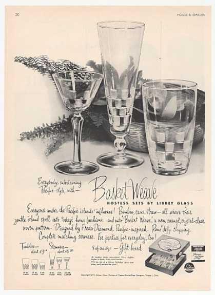 Libbey Glass Basket Weave Hostess Sets (1952)