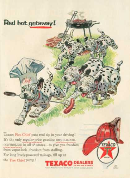 Texaco Ad Cute Dalmation Puppies Barbeque Chef (1956)