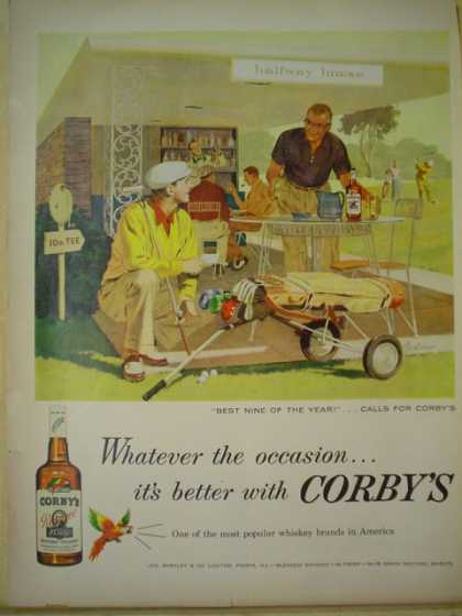 Corby's whiskey Whatever the occasion. Golf theme (1957)
