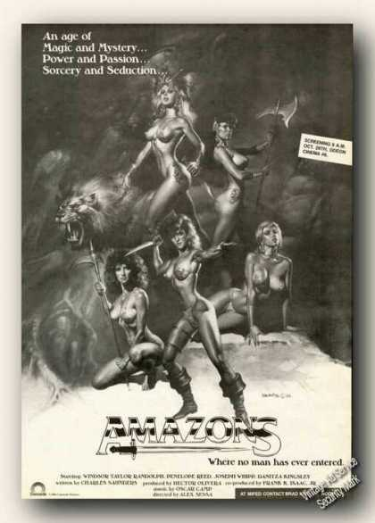 Amazons Movie Rare Ad Beautiful Women Art (1986)