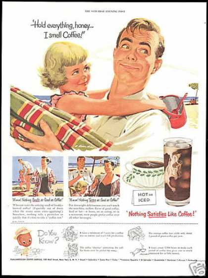 Pan American Coffee Family Beach Art (1951)