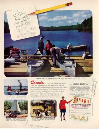 Canada Travel Canoe Lake Fishing (1950)
