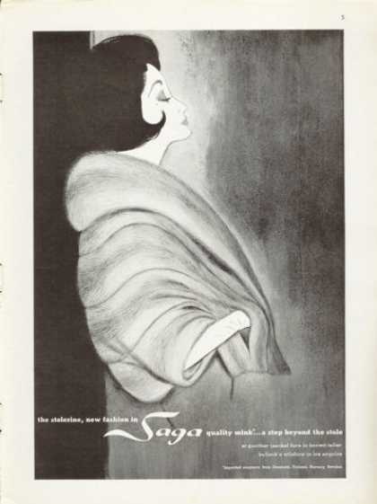Saga Quality Mink Coat Stole Fashion (1961)