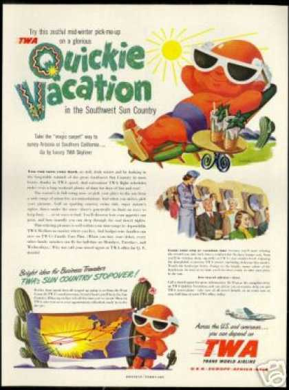 TWA Airlines Tan Man Sunglasses Florida Art (1950)