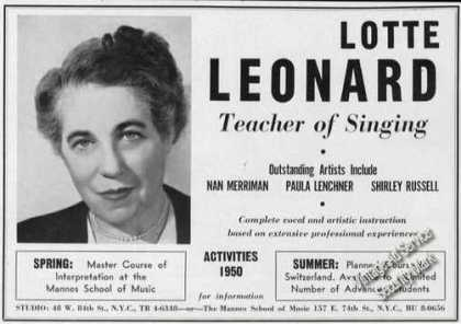 Lotte Leonard Photo Teacher Concert Opera (1950)