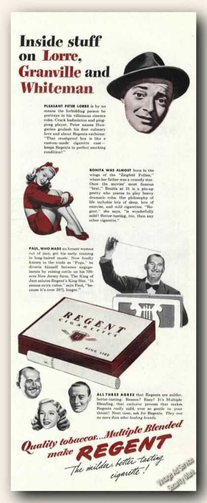 Regent Cigarettes Rare Peter Lorre Advertising (1944)