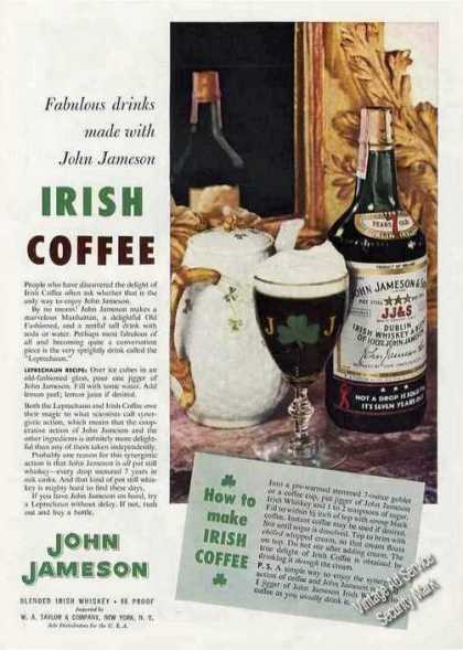 John Jameson Irish Whiskey Irish Coffee Recipe (1957)