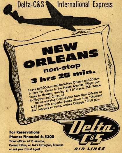 Delta C & S Air Line's New Orleans – New Orleans, non-stop 3 hrs 25 min. (1953)