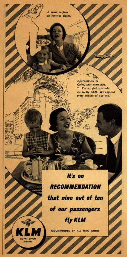 KLM Royal Dutch Airlines – It's on Recommendation that nine out of ten of our passengers fly KLM (1953)