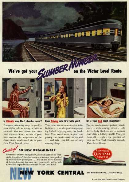 New York Central System's New York Central – We've got your Slumber Number on the Water Level Route (1946)