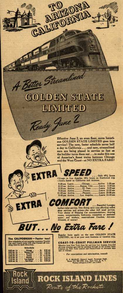 Rock Island Line's Golden State Limited – To Arizona California A Better Streamlined Golden State Limited Ready June 2 (1946)