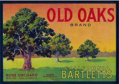 Old Oaks Pear Crate Label – Bryte, CA