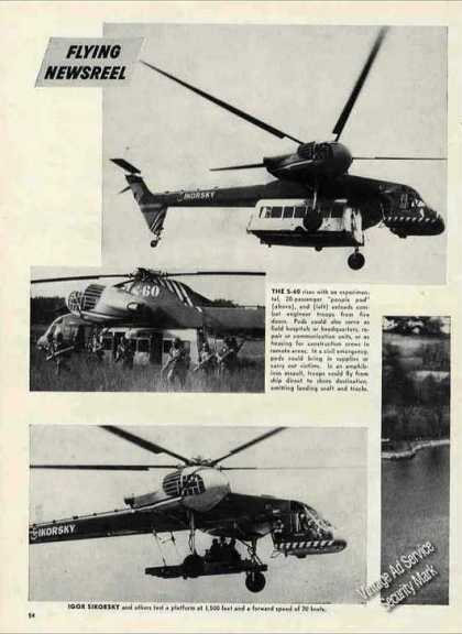 "Sikorsky Flying Crane ""Sky Hook"" Print Feature (1960)"