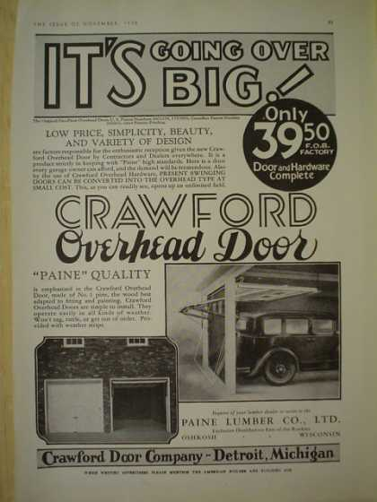 Crawford Door Company. Detroit Michigan. Crawford overhead door (1930)