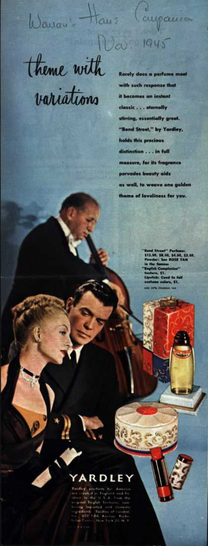 Yardley of London's Bond Street Cosmetics – theme with variations (1945)