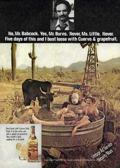 Cuervo Gold & Grapefruit Men Bathing In Desert (1980)