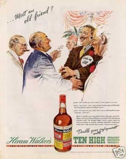 "Hiram Walker's Ten High Whiskey Ad ""Meet an Old... (1938)"