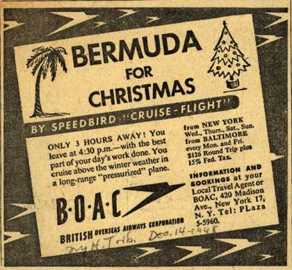 British Overseas Airways Corporation's Bermuda – BERMUDA FOR CHRISTMAS (1948)