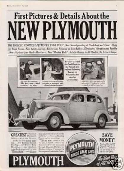 "Plymouth Car Ad ""First Pictures and Details... (1937)"