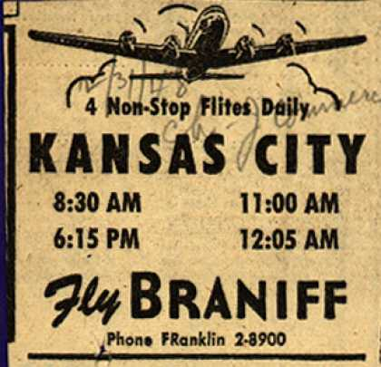 Braniff Airway's Kansas City – KANSAS CITY (1948)