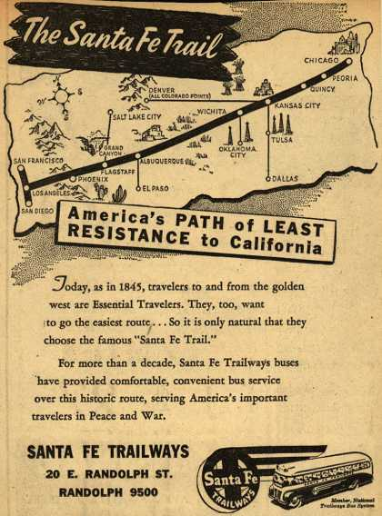 Santa Fe Trailway's Chicago – California – The Santa Fe Trail America's Path of Least Resistance to California (1945)