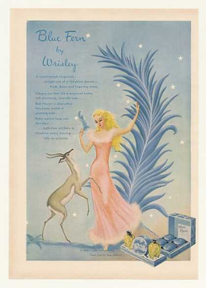Wrisley Blue Fern Cologne Bath Oil Powder Soap (1947)