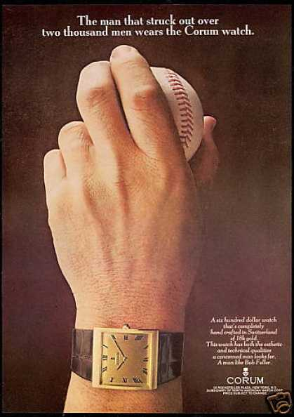 Baseball Bob Feller Corum Watch Photo (1969)