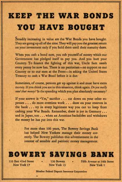Bowery Savings Bank's War Bonds – Keep The War Bonds You Have Bought (1944)
