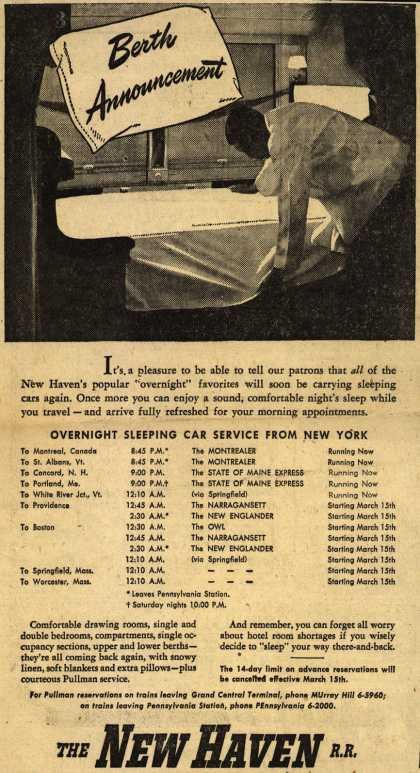 New Haven Railroad's Overnight Sleeping Cars – Berth Announcement (1946)