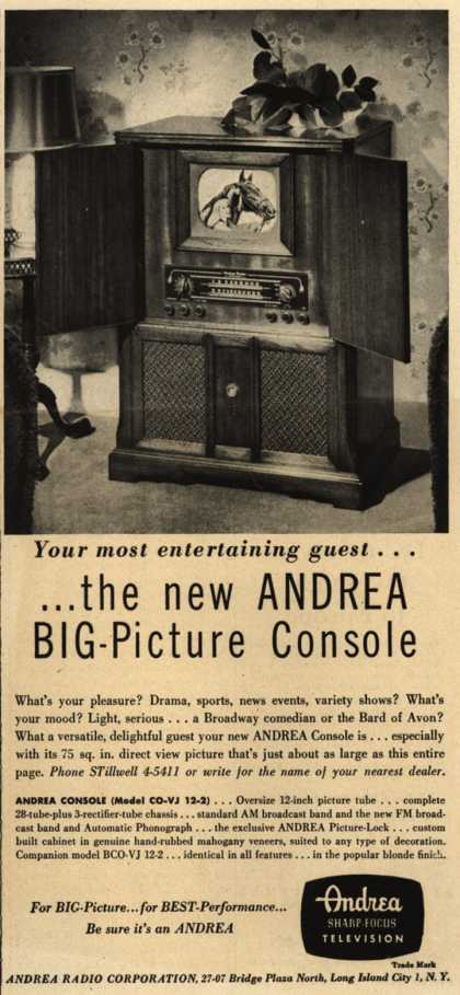 Andrea Radio Corporation's Television Console – Your Most Entertaining Guest... ...The New Andrea Big-Picture Console (1948)