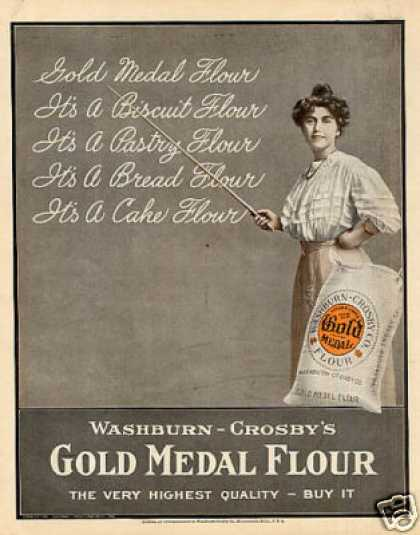 Gold Medal Flour Color Ad Teacher's Lesson (1908)