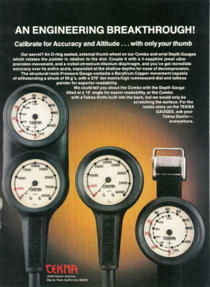 Tekna Scuba Diving Diver Pressure Depth Gauges (1980)