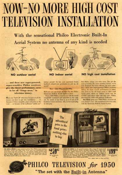 Philco's Television – Now-No More High Cost Television Installation (1949)