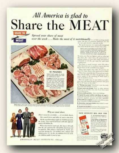 Wwii Share the Meat American Meat Institute (1943)