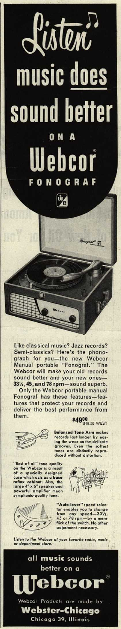 Webster-Chicago Corporation's Fonograf – Listen, music does sound better on a Webcor Fonograf (1952)