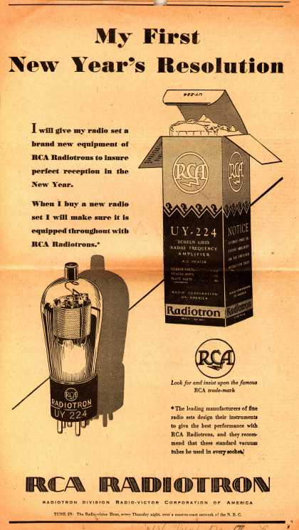 Radio-Victor Corporation of America's Radiotrons – My First New Year's Resolution (1929)