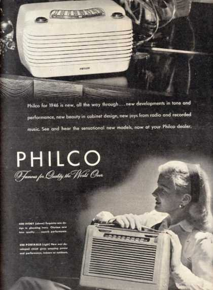 Philco's 420 Ivory and 350 Portable (1946)